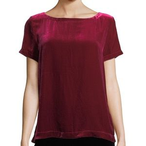 Eileen Fischer Red Velvet Short Sleeve Top